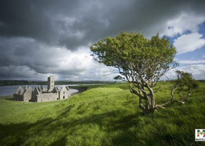 Storm clouds over Rosserk Abbey, Co Mayo, Ireland.