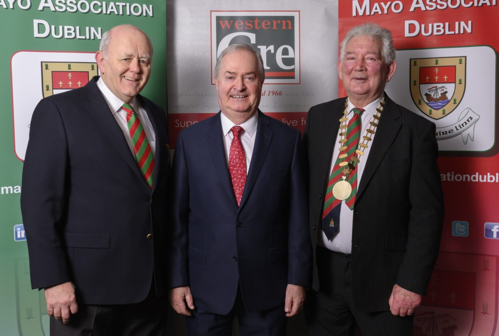 Mayo Association Dublin's Chairperson Michael Kealy and President Eddie Melvin with Cathal Hughes, 2019 Mayo Person of the Year Award Winner.